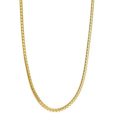 18kt Gold-Plated Sterling Silver 1.5mm Franco Chain Men's Necklace, 22