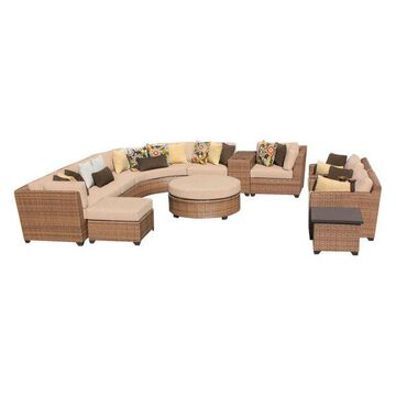 TK Classics Laguna 12-Piece Outdoor Wicker Sofa Set, Wheat
