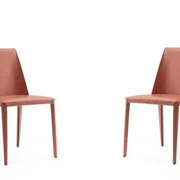 Manhattan Comfort Paris Contemporary/Modern Genuine Leather Upholstered Dining Side Chair (Metal Frame) in Orange | DC032-CY