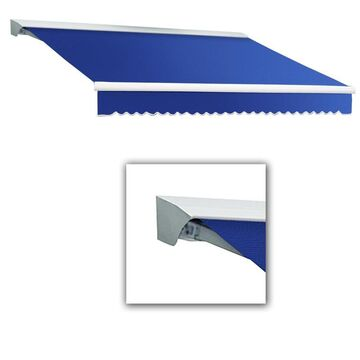 Awntech Destin 96-in Wide x 84-in Projection Bright Blue Solid Vertical Patio Manual Retraction Awning Stainless Steel