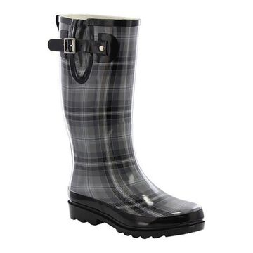 Western Chief Women's Highland Plaid Rain Boot Charcoal