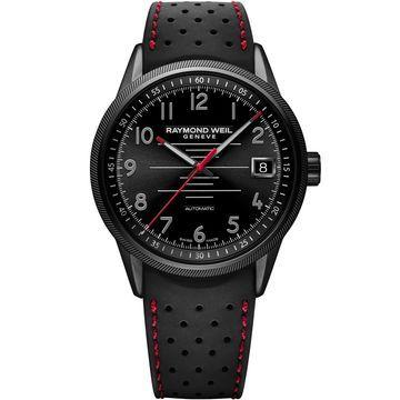 Raymond Weil Men's Freelancer Pilot 42mm Black Rubber Band IP Steel Case Automatic Watch 2754-BKR-05200