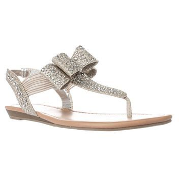 Material Girl Womens Shayleen Split Toe Special Occasion Slide Sandals