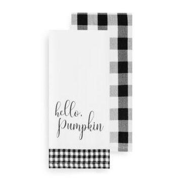 Elrene Hello Pumpkin and Check Kitchen Towel Set