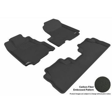 3D MAXpider 2007-2011 Honda CR-V Front & Second Row Set All Weather Floor Liners in Black with Carbon Fiber Look