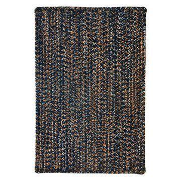 Team Spirit Rectangle Braided Rug, Navy Orange, 5' 6