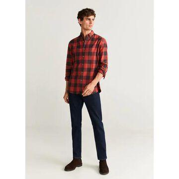 MANGO MAN - Regular fit neps checked shirt orange - XL - Men