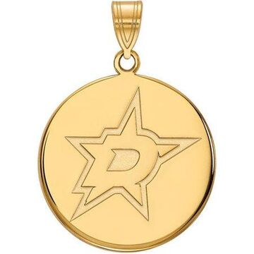 LogoArt Sterling Silver With Gold-plated NHL Dallas Stars Large Disc Pendant