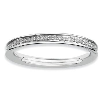 Versil Sterling Silver And Diamonds Polished Ring