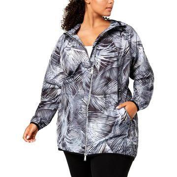 Calvin Klein Performance Womens Plus Track Jacket Printed Light Weight - 1X