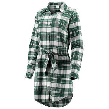 Michigan State Spartans ZooZatz Women's Warm Up Flannel Button-Up Dress - Green