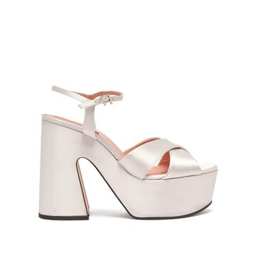 Rochas - Satin Platform Sandals - Womens - White