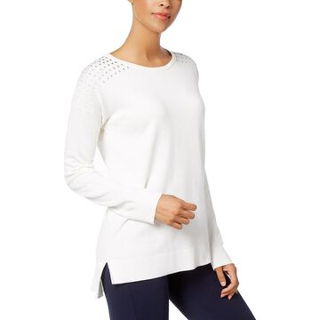 NY Collection Womens Pullover Sweater Knit Studded