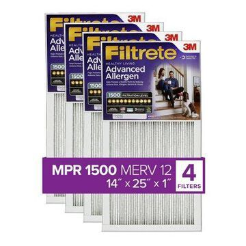 Filtrete 14x25x1, Healthy Living Advanced Allergen Reduction HVAC Furnace Air Filter, 1500 MPR, Pack of 4 Filters