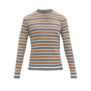 Marni - Striped Rib-knitted Cotton-blend Sweater - Mens - Blue Multi