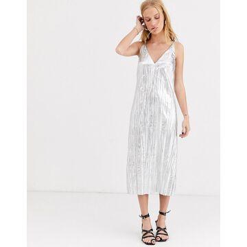 ASOS WHITE silver crinkle slip dress