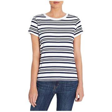Three Dots Cotton Modal Short Sleeve Tee (Night Iris Stripe) Women's T Shirt