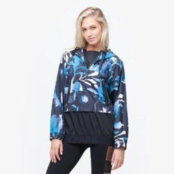 Ivy Park Ink Cloud Perforated Hooded Jacket - Womens - Multi