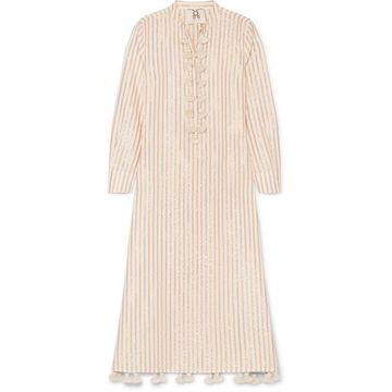 Figue - Paolina Tasseled Striped Cotton And Lurex-blend Dress - Beige