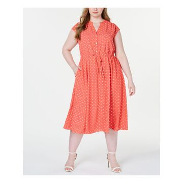 ANNE KLEIN Womens Coral Polka Dot Cap Sleeve Collared Midi Fit + Flare Party Dress Plus Size: 1X