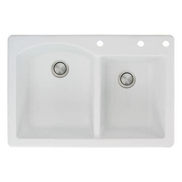 Transolid Aversa 33-in silQ Granite Drop-in Double Bowl Kitchen Sink (3 - White)