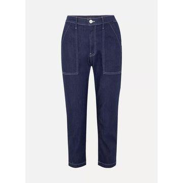 3x1 - Sabine Cropped Contrast-stitch Jeans - Dark denim