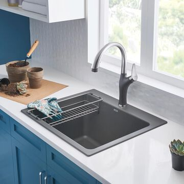 BLANCO 22-in x 25-in 1-Basin Cinder (Gray) Undermount Laundry Sink (1 Sinks Included) Stainless Steel   401923