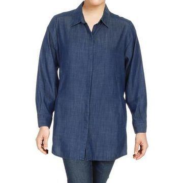 Foxcroft Womens Plus Cuffed Sleeves Button-Down Shirtdress