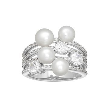Certified Sofia Bridal Cultured Freshwater Pearl & Swarovski Cubic Zirconia Sterling Silver Ring