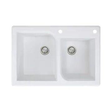 Transolid Radius 33-in silQ Granite Drop-in Double Bowl Kitchen Sink