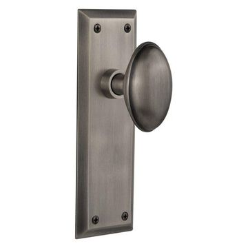 NY Plate Privacy Homestead Door Knob, Antique Pewter