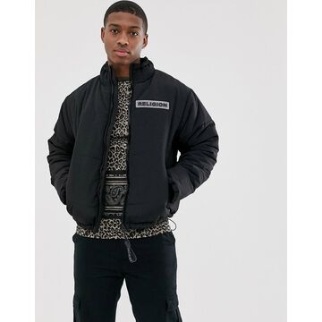 Religion puffer jacket with pockets in black