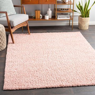 """Art of Knot Fourni Pink 6'7"""" x 9' Modern Solid Area Rug"""