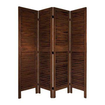 Oriental Furniture 4-Panel Burnt Brown Wood Folding Transitional Style Room Divider | FJ-VEN-4P-BBRN