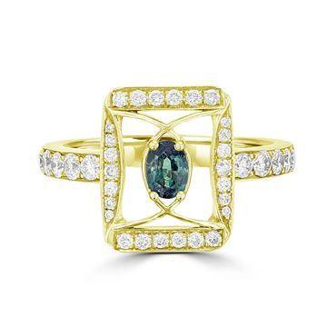 La Vita Vital 18K Yellow Gold, Fine Brazilian Alexandrite 0.26cts & Diamond 0.53cts TDW (SI1-VS, G-H) Ring
