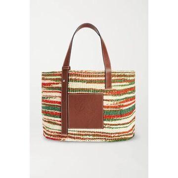 Loewe - Paula's Ibiza Medium Leather-trimmed Striped Woven Raffia Tote - Brown