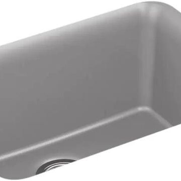 KOHLER Undermount 24.5-in x 18.3125-in Matte Grey Single Bowl Kitchen Sink in Gray   K-28001-CM4