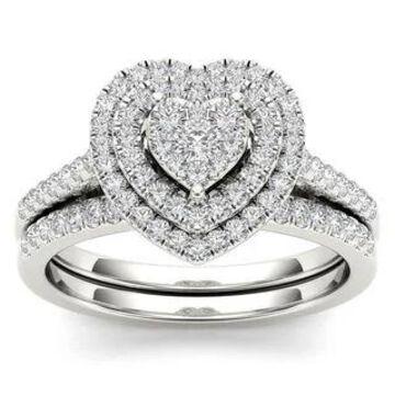 De Couer 14k White Gold 1/2ct TDW Diamond Cluster Heart-Shaped Frame Bridal Set
