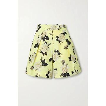 Erdem - Howard Floral-print Cotton-faille Shorts - Chartreuse