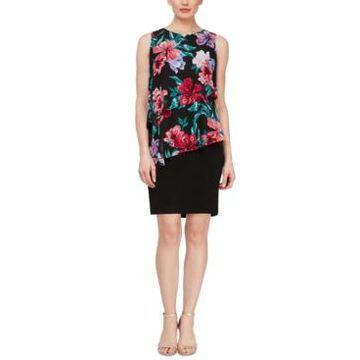 Sl Fashions Floral-Print-Overlay Sheath Dress