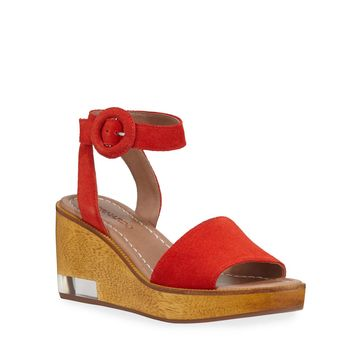 Kate Suede Wedge Ankle-Wrap Sandals