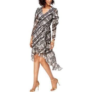 Taylor Womens Metallic Plaid Cocktail Dress