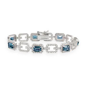 Glitzy Rocks Silver 8.75 CTW London Blue Topaz and Diamond Accent Bracelet