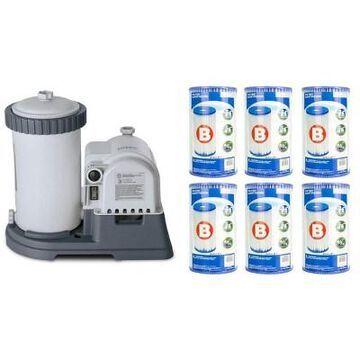 Intex 2500 GPH Krystal Clear Pool Filter Pump w/ GCFI & 6 Type B Cartridges