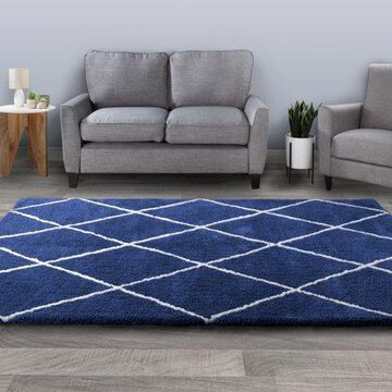 Diamond Shag Area Rug- Plush Navy & Ivory Pattern Carpet by Somerset Home (53