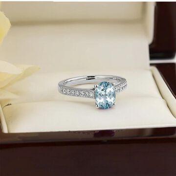 Auriya 3/4ct Fancy Oval Aquamarine and Diamond Engagement Ring 1/4ctw 14k Gold