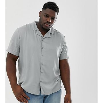 Another Influence plain revere collar short sleeve shirt in blue
