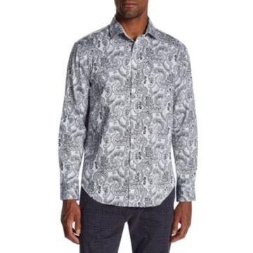 Tallia Men's Slim-Fit Stretch Paisley Long Sleeve Shirt