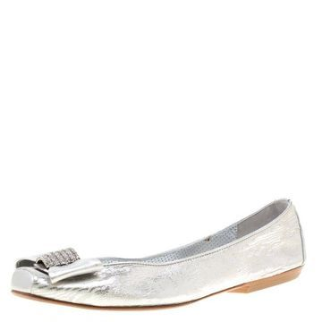Loriblu Bijoux Metallic Silver Leather Crystal Embellished Bow Square Toe Ballet Flats Size 40