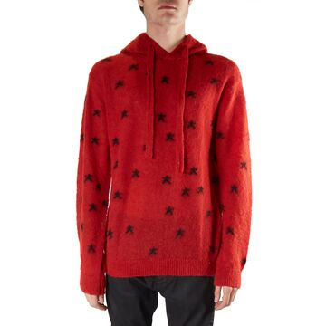 Laneus Red Sweater In Wool Blend With All-over Star Print